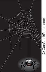 blak spider with dark background - vector illustration of...