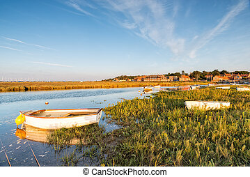 Boats on the marshes at Blakeney on the Norfolk Coast