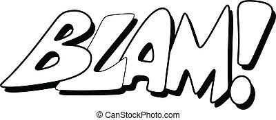 blam, comico, -, espressione