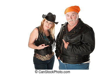 Blame - Biker couple engaged in a pointing match