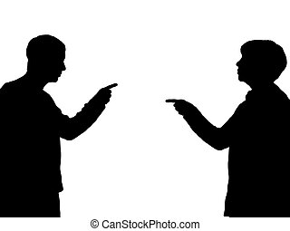 Blame Game - Illustration of a male and female pointing...