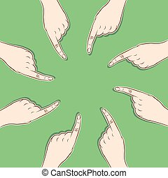 blame or choose leader concept - every men pointed finger to...