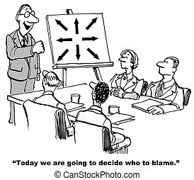Blame - Cartoon of business leader saying to team today we...