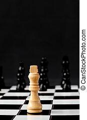 blanc, échecs, debout, morceau