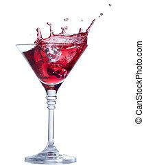 blanc, éclaboussure, isolé, cocktail, rouges