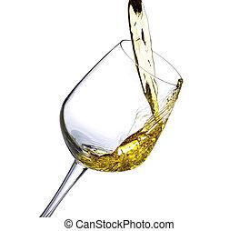 blanc, éclaboussure, isolé, vin