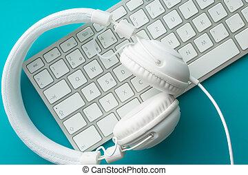 blanc, écouteurs, informatique, keyboard.