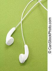 blanc, écouteurs