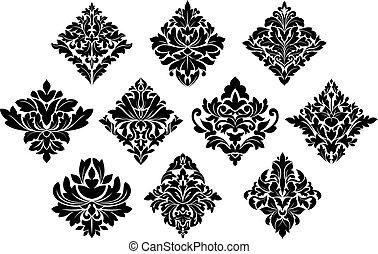 blanc, éléments, noir, arabesque, damassé