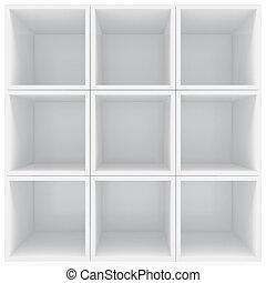blanc, étagères