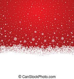 blanc, étoiles, flocon de neige, rouges, neige