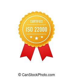 blanc, 22000, vecteur, doré, arrière-plan., illustration., certifié, étiquette, iso