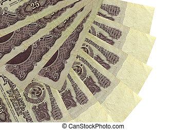 blanc, 25, ventilateur, russe, copie, forme, fin, isolé, empilé haut, rubles, fond, mensonges, factures, espace