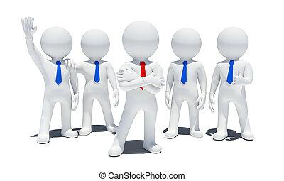blanc, 3d, cinq personnes