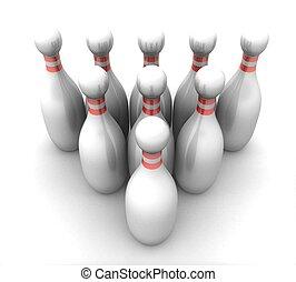 blanc, 3d, fond, bowling