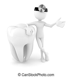 blanc, 3d, fond, dent