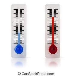 blanc, 3d, fond, thermomètre