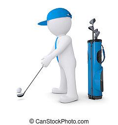 blanc, 3d, golf, jouer, homme
