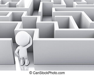 blanc, 3d, maze., gens