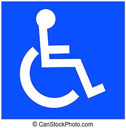 blanc, accessible, symbole, handicap