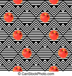 blanc, africaine, pommes, noir, rayé, texture, rouges