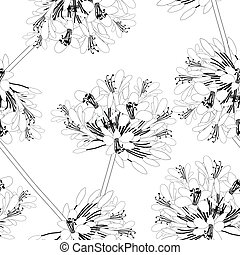 blanc, agapanthus, seamless, fond