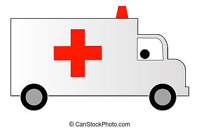 blanc, ambulance, à, croix rouge, et, sirène