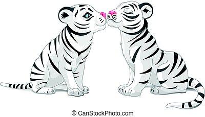 blanc, amour, tigres, deux