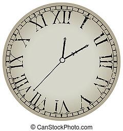 blanc, ancien, contre, horloge
