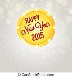 blanc, année, nouveau, cercle, briller, 2015, heureux