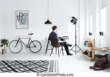 blanc, appartement, à, bureau