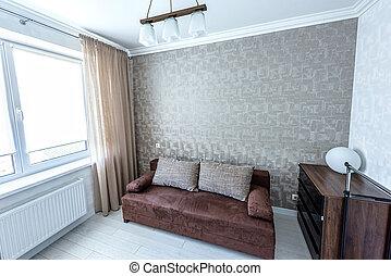 blanc, appartement, conception intérieur, de, moderne, style