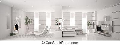 blanc, appartement, panorama, intérieur, 3d