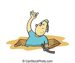 blanc, archéologue, dessin animé, monnaie, sien, collage, rigolote, illustration, main., plat, chasseur, trésor, vecteur, excavation, arrière-plan., isolé, dehors, pit.