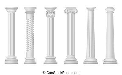 blanc, architecture, grec, colonnes romaines, antiquité