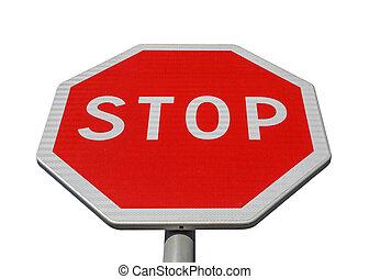 blanc, arrêt, isolé, panneaux signalisations
