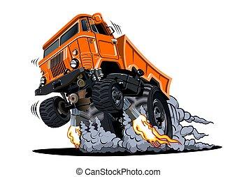 blanc, arrière-plan., 4x4 camion, muscle, dessin animé, isolé