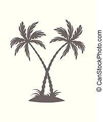 blanc, arrière-plan., arbres, silhouette, island., isolé, paume, illustration, vecteur