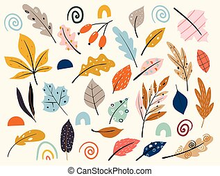 blanc, arrière-plan., baissé, leaves., automne, ensemble, coloré, rouges, isolé, feuilles autome, feuille jaune, feuille, sec, berries., automnal, jardin