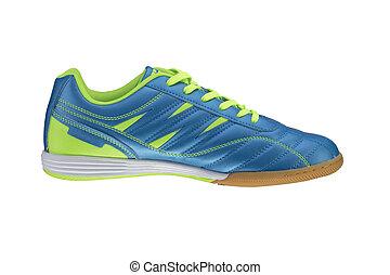 blanc, arrière-plan., basket, shoes., vert, sport, raies, bleu