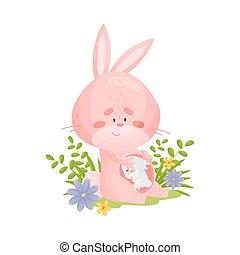 blanc, arrière-plan., hare., rose, illustration, pregnant, vecteur, dessin animé