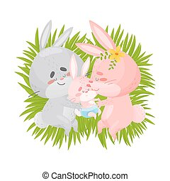 blanc, arrière-plan., lapins, sommeil, papa, bébé, maman, grass., illustration, vecteur