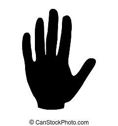 blanc, arrière-plan., mains, paume, noir, illustration, icône, silhouette., vecteur