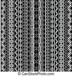 blanc, arrière-plan noir, motifs, ethnique