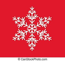 blanc, arrière-plan., rouges, icône, flocon de neige