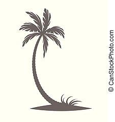 blanc, arrière-plan., silhouette, palmiers