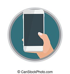 blanc, arrière-plan., téléphonez icône, isolé, illustration, vecteur, possession main, mobile
