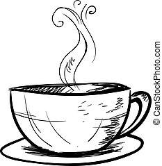 blanc, arrière-plan., vecteur, illustration, tasse à café, croquis