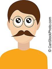 blanc, arrière-plan., vecteur, moustache, illustration, homme