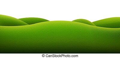 blanc, arrière-plan vert, paysage, isolé
